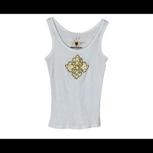 Twisted Heart Embellished Cross White Tank M/4-6